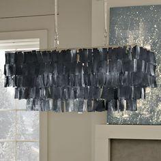 Large Rectangle Hanging Capiz Chandelier - Gray | West Elm