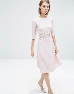 ASOS+Lace+Insert+Midi+Skater+Dress
