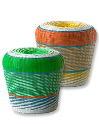 Multicolored wicker stools add fun and flexibility to outdoor space. $79.99 compare at $150