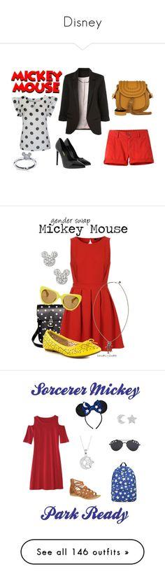 """Disney"" by megdelaina-disney ❤ liked on Polyvore featuring WithChic, Mountain Khakis, Yves Saint Laurent, Chloé, Disney, TFNC, JustFab, Disney Couture, Linda Farrow and disney"