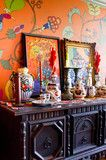 Hand painted mural wall with Jacobean revival furniture