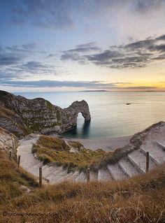 Steps to Durdle Door on the Jurassic Coast, Dorset, England