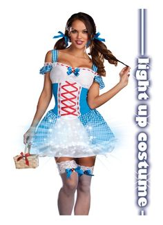 Sexy Cute Dorothy Wizard Of Oz Light Up Halloween Costume XL
