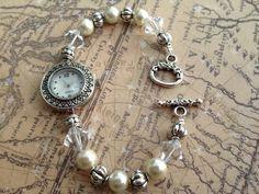 Watch Timepiece Bracelet with Pearls by ItsMyMonkeyBusiness