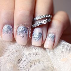 Silver and rose nails