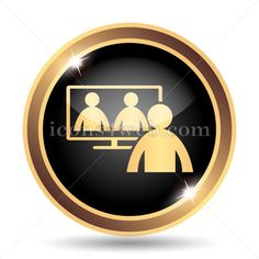 Online meeting gold icon. Video conference, online meeting gold button. Golden icon designed in high resolution. Royalty free icon for web design.