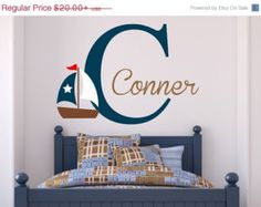 Boys Room Anchor Decal Vinyl Lettering Vinyl Wall ArtAnchor - Monogram vinyl wall decals for boys