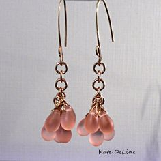 Rose Pink Dangling Earrings  Gold Filled by KDTwistedElements, $34.00