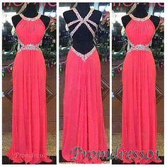 #promdress01 prom dresses - cute coral chiffon  round neck backless long prom dress for teens, ball gown for season 2015.
