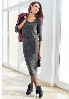 Dlouhé šaty s efektem 2 v 1 #ModinoCZ #dress #šaty #podzim