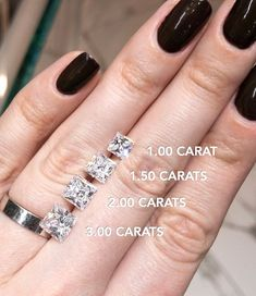 Princess cut fans, raise your hand! Here's a size guide for princess cut diamonds to help with your shopping! Model is size ⁠Designed and created by Joseph Jewelry Black Diamond Engagement, Diamond Wedding Sets, Dream Engagement Rings, Princess Cut Engagement Rings, Princess Rings, Princess Wedding, Solitaire Engagement, Tiffany Engagement, Wedding Engagement