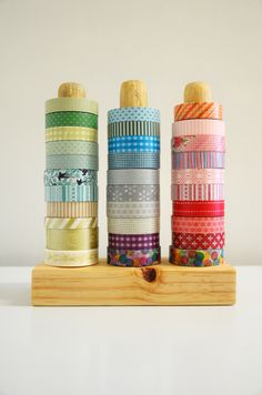 "Washi tape holder. One block of wood. One wooden 1"" dowel cut into three equal parts. Easy peezy."