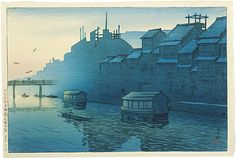Kawase Hasui (1883-1957) Souvenirs of Travel, Second Series: Morning at Dotonbori in Osaka (Tabi Miyage Dai Nishu: Osaka Dotonbori no Asa) Signed Hasui with artist's pre-earthquake diamond-shaped seal Kawase, and publisher's