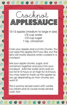Crockpot Applesauce...this is similar to the receipe my sons 1st grade teacher gave us cause they made it in class! Her's says to use 8 apples, 1 cup water, and use 1/2 cup white or brown sugar, and cinnamon is the same. She says to put on high in the morning and mash them in the afternoon when they are soft. Pretty close! Baby Food Recipes, Fall Recipes, Apple Recipes, Dessert Recipes, Desserts, Crock Pot Cooking, Crock Pot Slow Cooker, Cocktails, Drinks