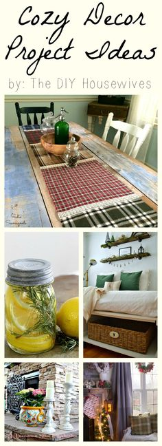 If you're looking for Cozy Decor Project and Home decorating ideas, then the DIY Housewives have you covered!! Perfect for autumn / fall and winter decorating and transitioning into festive holiday decor. Check out these collection of inspiration at Sadie Seasongoods / www.sadieseasongoods.com #cozy #hygge #cozyhome #cozyhomedecor