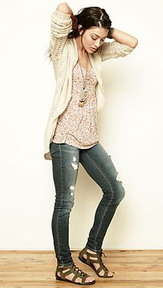 Skinnies, sandals, floral tank, long necklaces and cardigan, cute spring look.