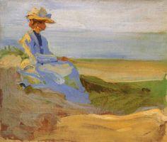 Curt Herrmann - Dame (Sophie Herrmann) in den Dünen von Binz auf Rügen 1899