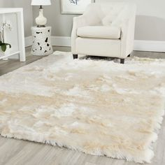 Safavieh Handmade Silken Glam Paris Shag Ivory Rug - x Square x Square - ivory) (Polyester, Solid) Polyester Rugs, Family Room Decorating, How To Clean Carpet, My New Room, Online Home Decor Stores, Online Shopping, Carpet Runner, Rug Runner, Cool Rugs
