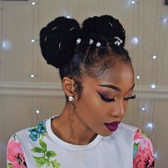 afro space buns hairstyle with bonded mats, bonded african braid model . afro space buns hairstyle with bonded mats, african braid model glued with pearls, afro hairstyle f Short Afro Hairstyles, African Hairstyles, Twist Hairstyles, Protective Hairstyles, Cool Hairstyles, Natural Styles, Medium Hair Styles, Curly Hair Styles, Natural Hair Updo