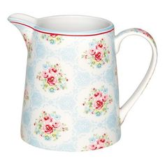 GreenGate Spring/Summer 2015 Stoneware Jug L Olivia Pale Blue H cm Overbeck And Friends, Red And Blue, Blue Green, Kitchen Canisters, Scandinavian Living, Spring Summer 2015, Soft Colors, Girly Things, Girly Stuff