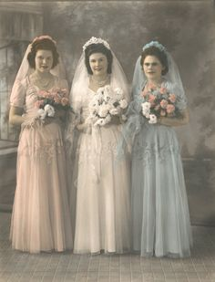 Lovely Bride and Bridesmaids, 1945, color tinted photo.