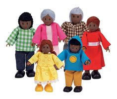 This African American Happy Family Dollhouse set includes 6 dolls. Grandpa, Grandma, Mom, Dad, Brother and Sister are all included in this Happy Family Set. Each doll is made of wood and features a wire body for bendable play! Wooden Dollhouse, Wooden Dolls, Dollhouse Dolls, Miniature Dolls, African Dolls, African American Dolls, American Art, Family Set, Happy Family