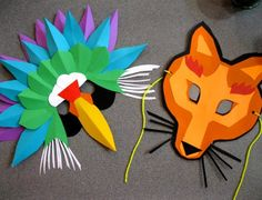 animal paper mask kid's craft fox and bird