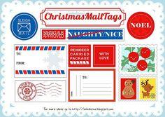 Adorable Christmas Mail Tags Free Printable gift tags or labels. Christmas Gift Tags Printable, Christmas Labels, Free Christmas Printables, Christmas Activities, Free Printables, Printable Party, Printable Labels, Printable Stickers, Christmas Mail
