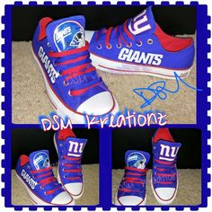 52259aa1033 Custom NY GIANTS Low Top Converse by DSMKreationzZ on Etsy