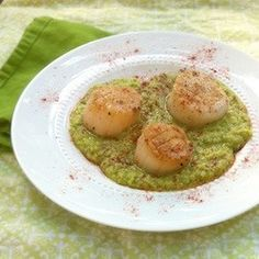 Scallops with Fava Bean Puree