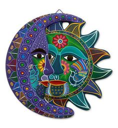 Ceramics Sun and Moon Decorations | Turquoise Floral Eclipse Fair Trade Sun and Moon Ceramic Wall Art