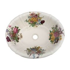 Add a splash of color to a porcelain bathroom sink with the hand-painted Victorian Garden design.