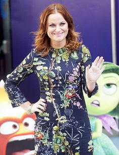 Amy Poehler looked stunning in a blue floral-printed dress at a London gala screening of Inside Out.