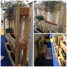 let the children play: Greening the Man-Made Outdoors, Part 1 Spring Projects, Garden Projects, Outdoor Learning Spaces, Outdoor Spaces, Reggio Emilia Classroom, Natural Play Spaces, Palette Wall, Pallets Garden, Pallet Gardening