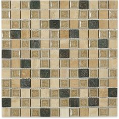 Shop 12x12 Roman Collection Desert Tan Square Mosaic in a blend of Polished Cream Porcelain Stones, Crushed Glass in Porcelain, and Metal Decos at TileBar.com
