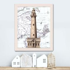 Nautical Gift - Lighthouse & Cottage on Nautical Map print Lighthouse print birthday gift for dad lighthouse painting lighthouse art coastal