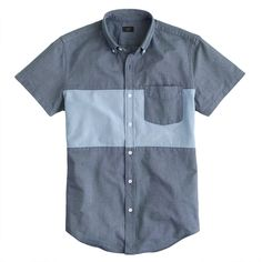Short-sleeve pieced vintage oxford shirt - short sleeve - Men's casual shirts - J.Crew