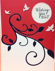 """Easy flourish die technique STEP #1 Lay die across card with edges  """"slightly off edges of paper. STEP #2-Cut  STEP #3-- Use 2 dif. colors of paper. Glue """"TOP"""" cut piece to red paper, """"BOTTOM"""" piece to black for another card later.     STEP # 4--Cut flourish from another color paper.  STEP #5--  Glue the BLACK flourish in  cut-out area."""