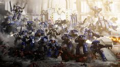 "The World Eaters came to the wrong neighbourhood. I've done a lot of ""Marines standing in a pile + dust"" shots but I felt like I had to do that one more. Defence of Ultramar Warhammer 40k Art, Warhammer Fantasy, The Horus Heresy, Angel Of Death, The Grim, Space Marine, Oeuvre D'art, Les Oeuvres, Concept Art"