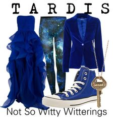 """TARDIS"" by notsowitty on Polyvore - Don't like the jacket material so much.. But everything else is lovely."
