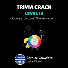 Bernice Crawford just leveled up to Lv. 18 on Trivia Crack!