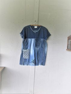 upcycled denim dress recycled jeans Bohemian reclaimed