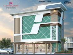Exteriors and architectural asian style houses by m.a constructions asian Building Elevation, Building Exterior, Building Facade, Building Design, 3 Storey House Design, Bungalow House Design, House Front Design, Commercial Architecture, Modern Architecture House