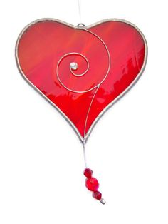 Fiery Red Loveheart Suncatcher Valentine Gift. Stained glass heart, window decoration, ornament, home decor, gift of love, love heart