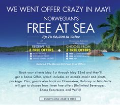 We Went Offer Crazy In May! - http://www.cruiseshipcenters.com/jeanninepringle - jpringle@cruiseshipcenters.com