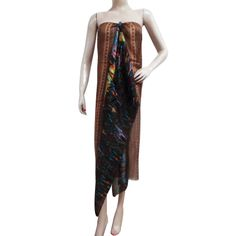 Women Thin Soft Long Sarong Wrap Silk Scarves Abstract Print India Free Shipping ..this is img