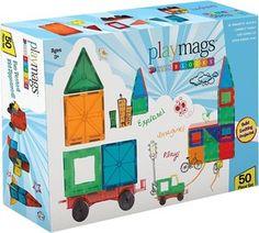 Playmags 152 - Magnetischer Bausteine-Bausatz mit 50 Teilen und 1 Auto, klar