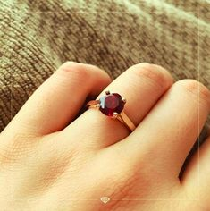 """📸 courtesy of Tracy """"My fiancé got me this beautiful lab ruby ring for our engagement. The stone is very clear and the color is perfect."""" Share your #GemvaraMoments with us on Instagram. Mention @Gemvara for your chance to be featured every month. #Gemstone #EngagementRing Red Gemstones, Magenta, Lab, Sapphire, Burgundy, Engagement Rings, Beautiful, Instagram, Color"""