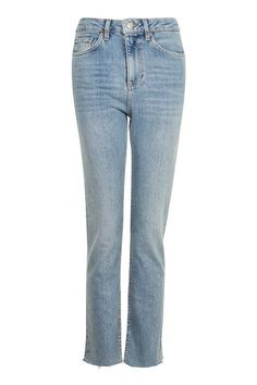 MOTO Bleach Raw Hem Straight Leg Jeans