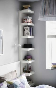 Narrow shelves help you use small wall spaces eff Bedroom Ideas For Small Rooms eff Fan Favorite IKEA LACK Narrow shelf Shelves Small Spaces Wall Ikea Small Spaces, Small Space Bedroom, Small Bedroom Designs, Small Space Storage, Small Room Design, Small Rooms, Small Apartments, Kids Rooms, Maximize Small Space